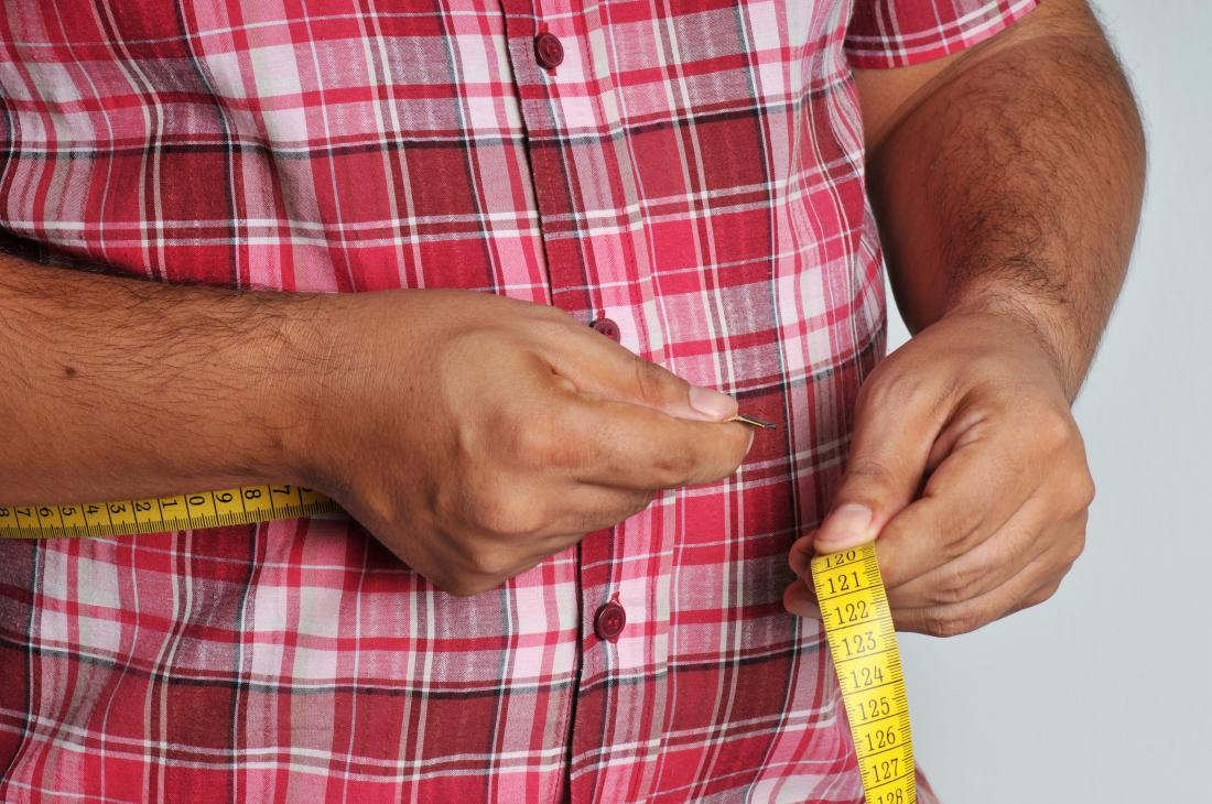 man measuring his waistline