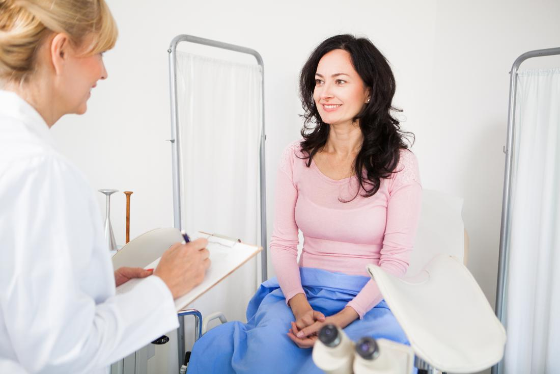 woman talking to gynecologist before pelvic examination