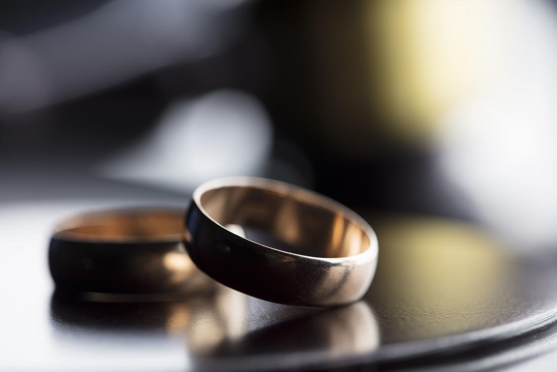 Two wedding ring bands on top of one another representing divorce.