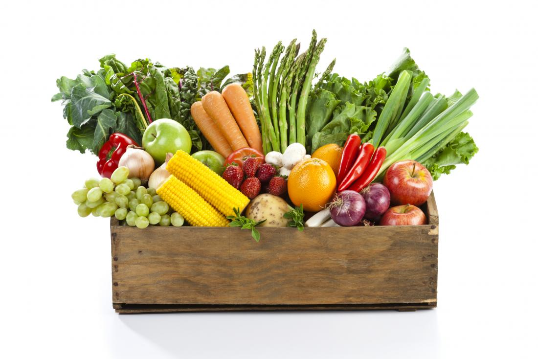 Box of vegetables and fruit