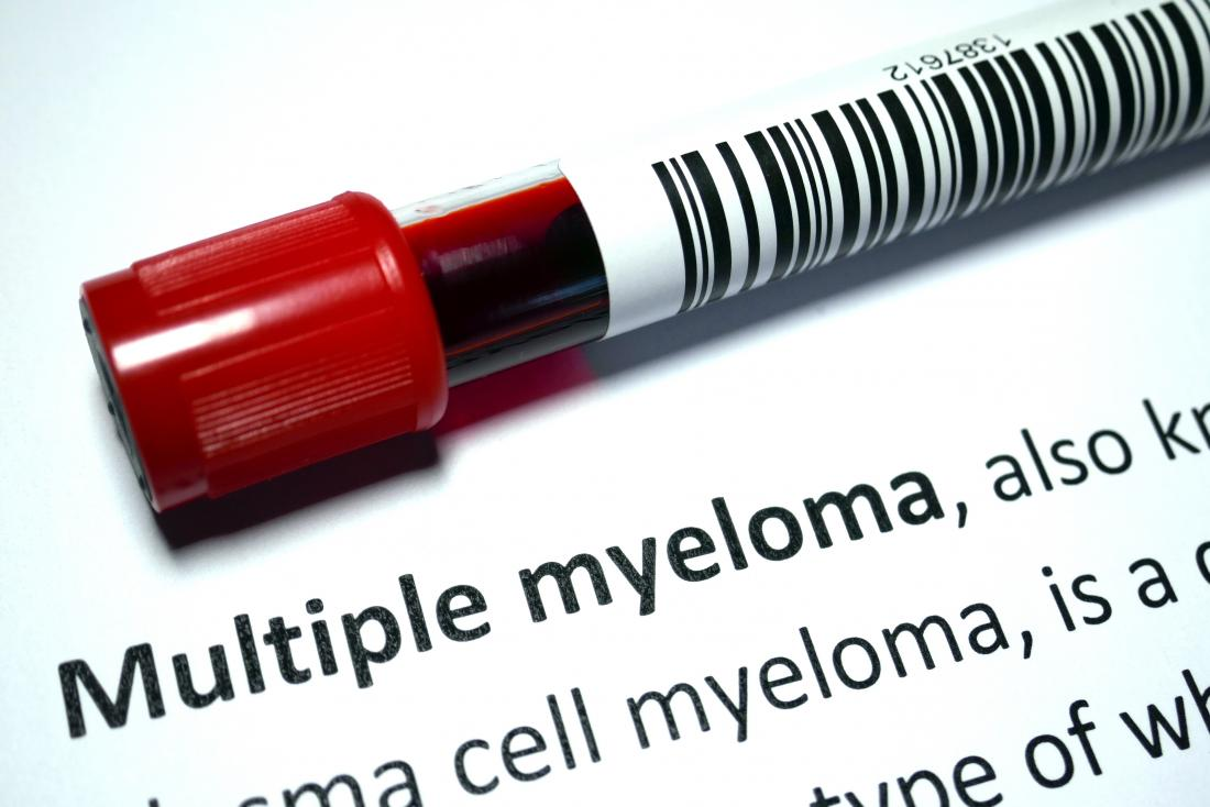 multiple myeloma written and blood in test tube