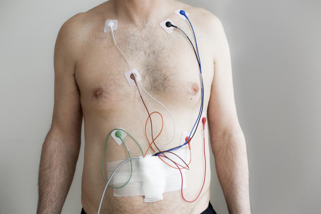 24-hour Holter monitoring device in a man's chest