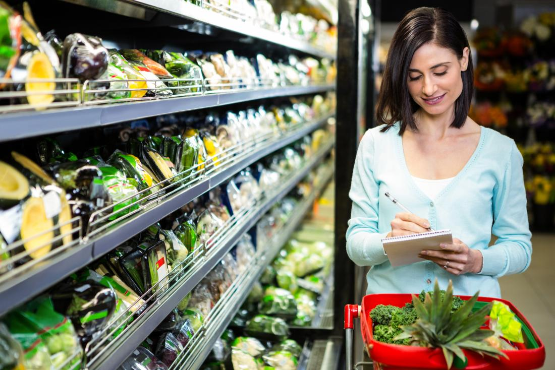 woman shopping in a supermarket for a 500-calorie diet