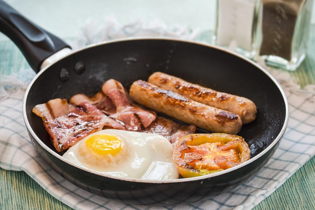 fried breakfast in frying pan