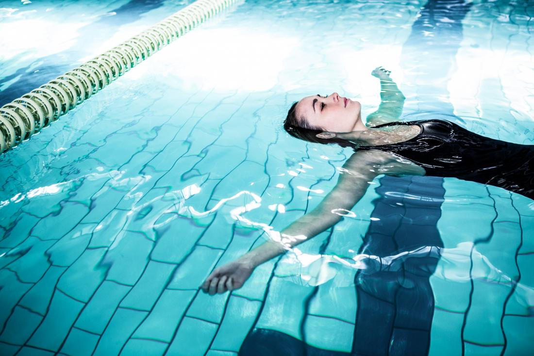 woman swimming in a pool