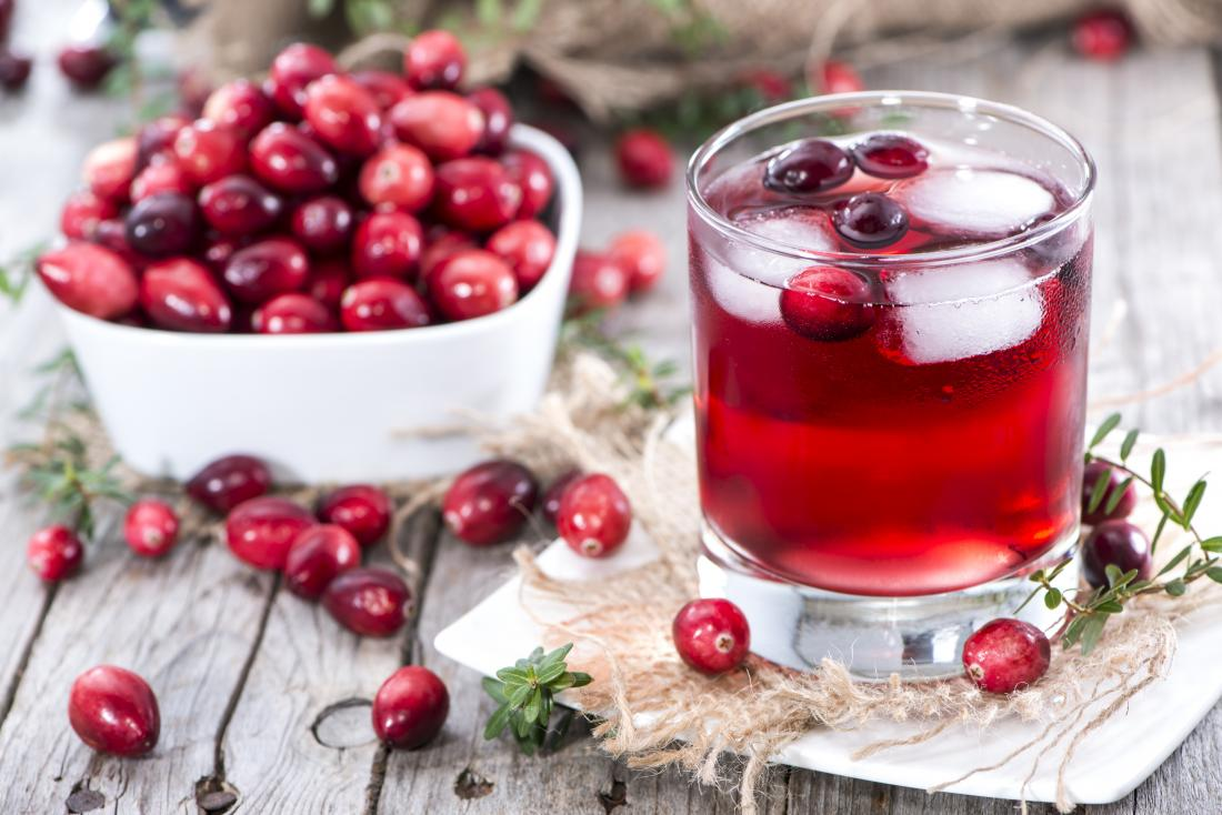 Cranberry juice and cranberries for treating UTI naturally.