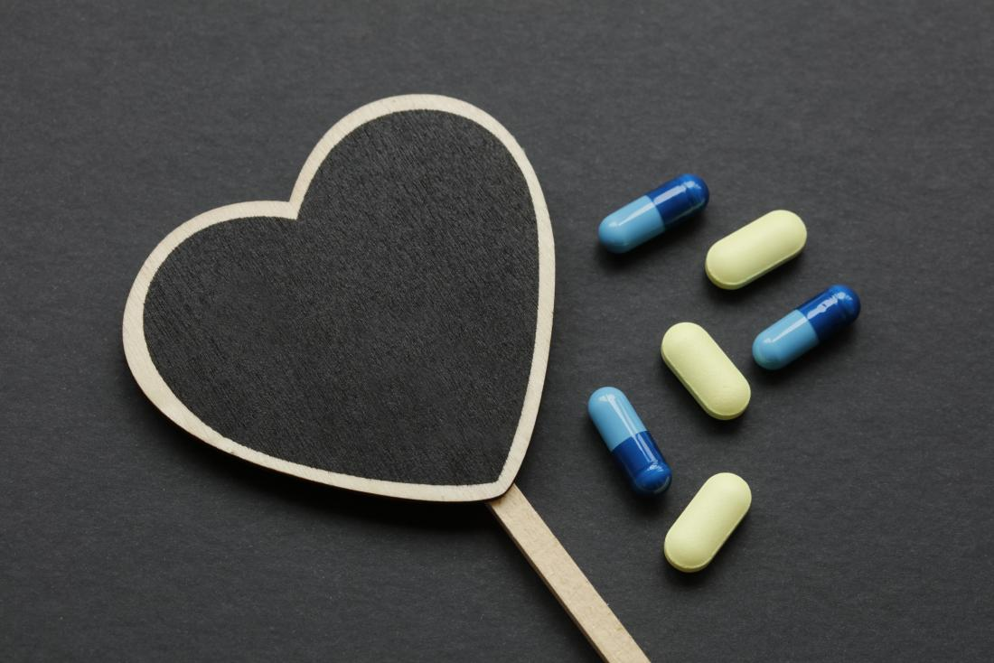 heart drawing with some pills