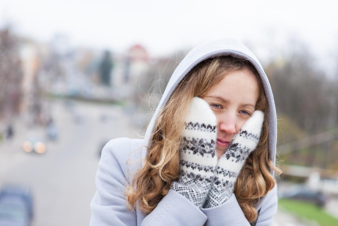 young woman wearing winter coat and gloves