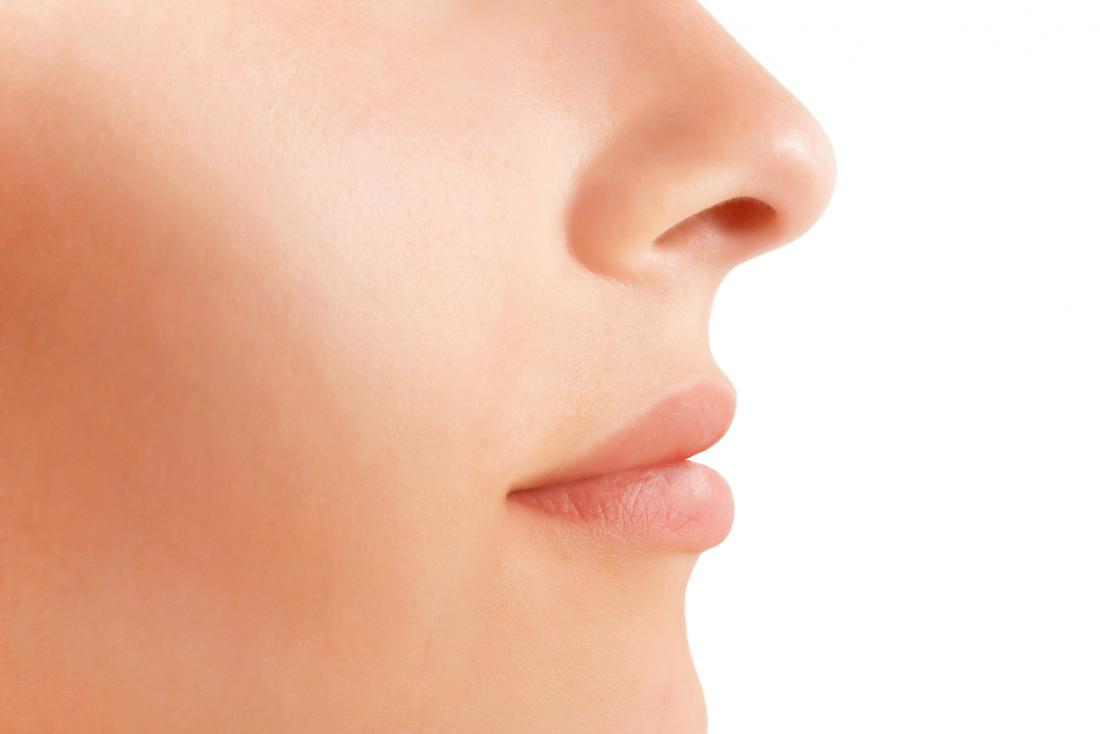 a womans nose and mouth