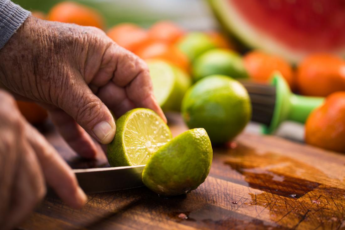 Fresh lime being cut