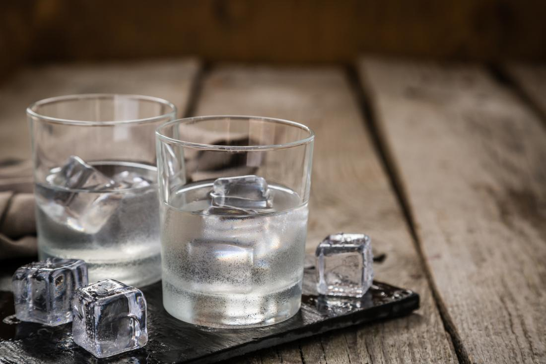 Vodka in glasses with ice.
