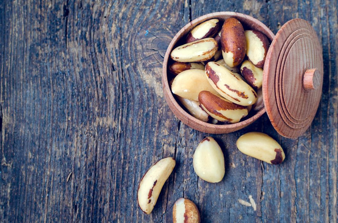 Brazil nuts in pot.