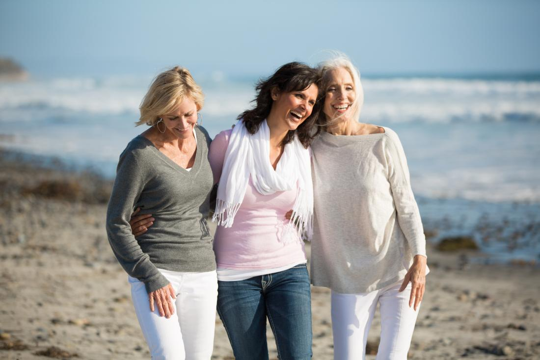 three women walking at the beach