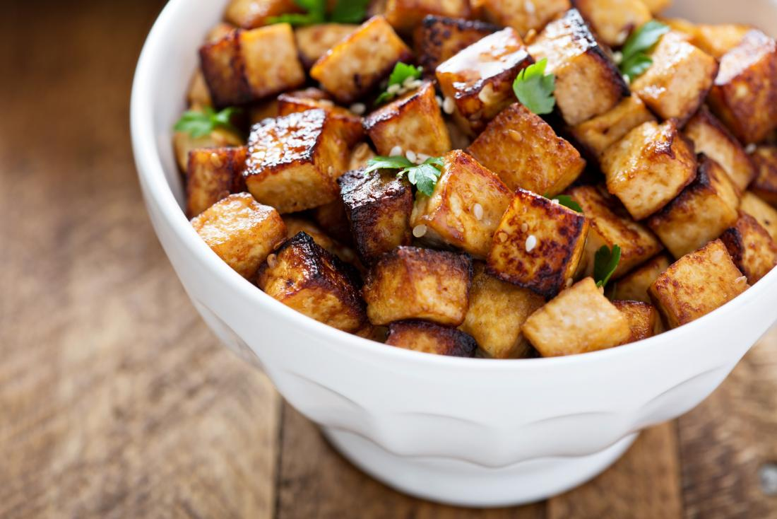 Tofu in a bowl which may help to reduce prostate cancer risk