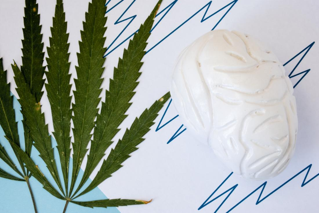 cannabis leaf and a brain