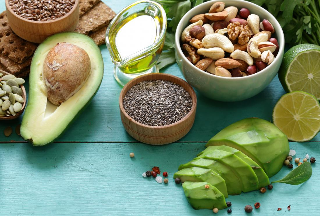 HIgh-fat plant foods containing omega 3 fatty acids, including olive oil, avocado, nuts and seeds