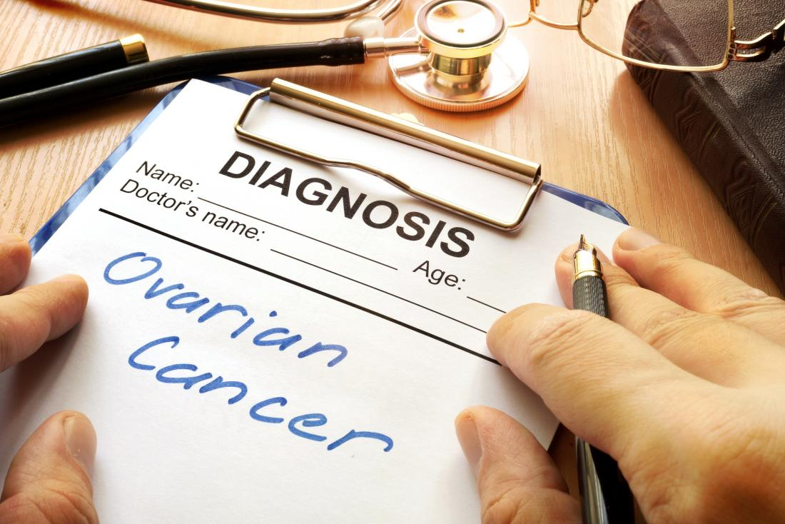 ovarian cancer diagnosis written on notepad