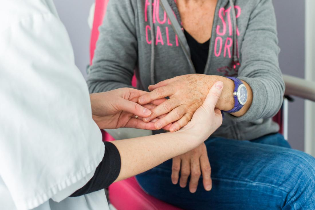Nurse or rheumatologist inspecting female patients hand for rheumatoid arthritis.
