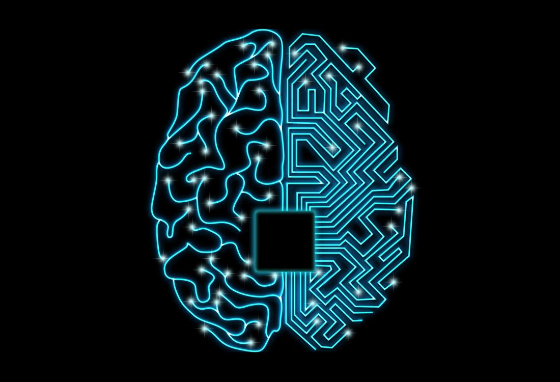 illustration of a brain in blue