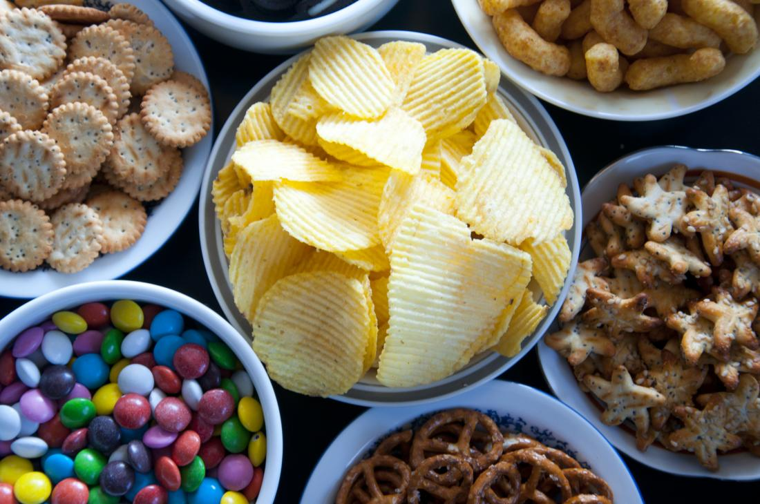 assortment of snack foods