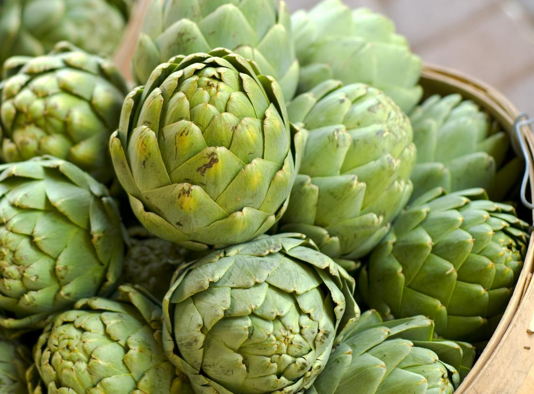 Artichokes in a basket which are a high fiber food