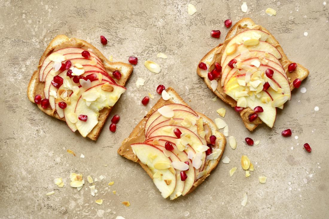 Toast with apple and nut butter