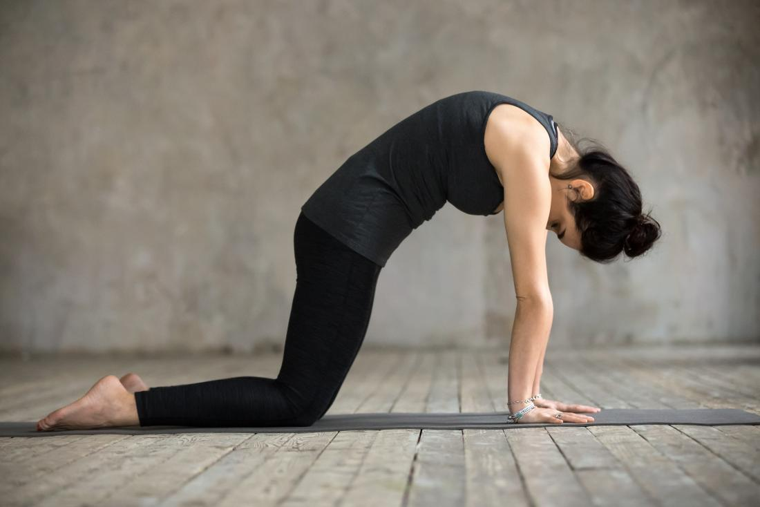 Woman doing yoga stretch called cat pose