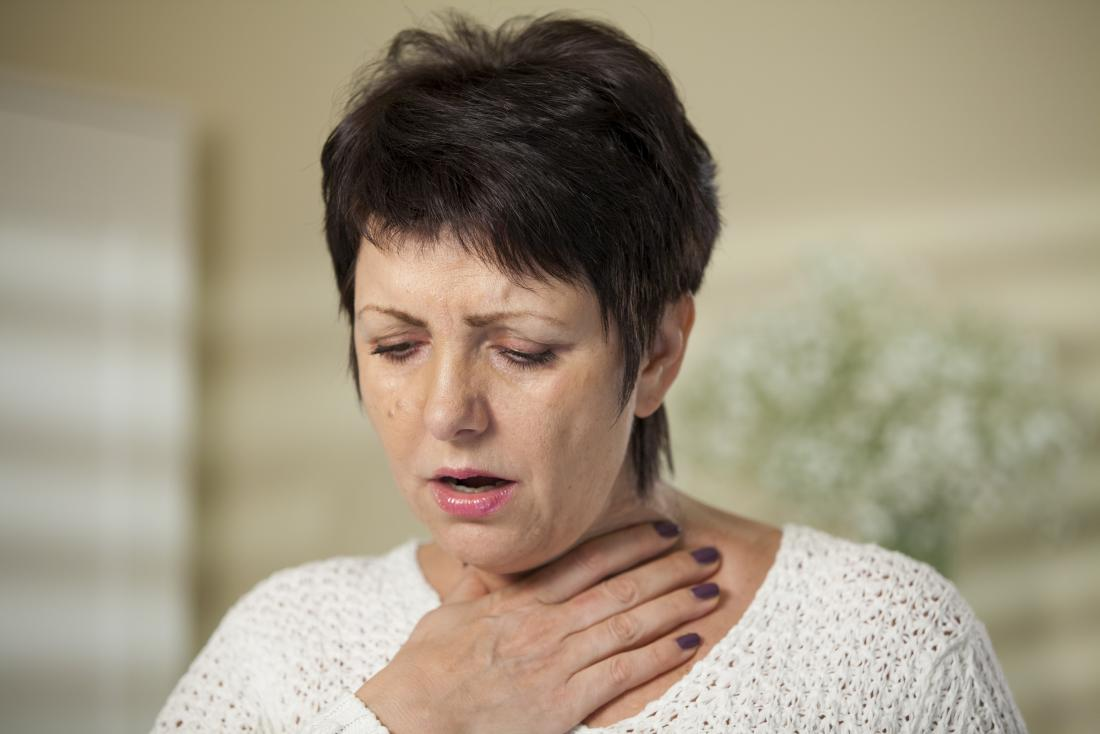 Woman struggling to breathe