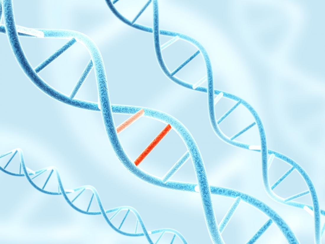 dna structure with red patch