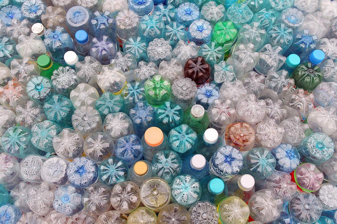 Plastic bottles on end