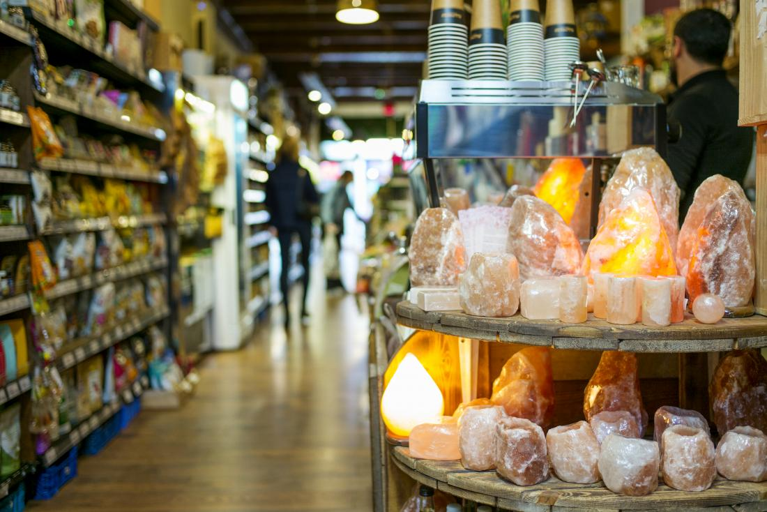 Pink Himalayan salt lamps in shop