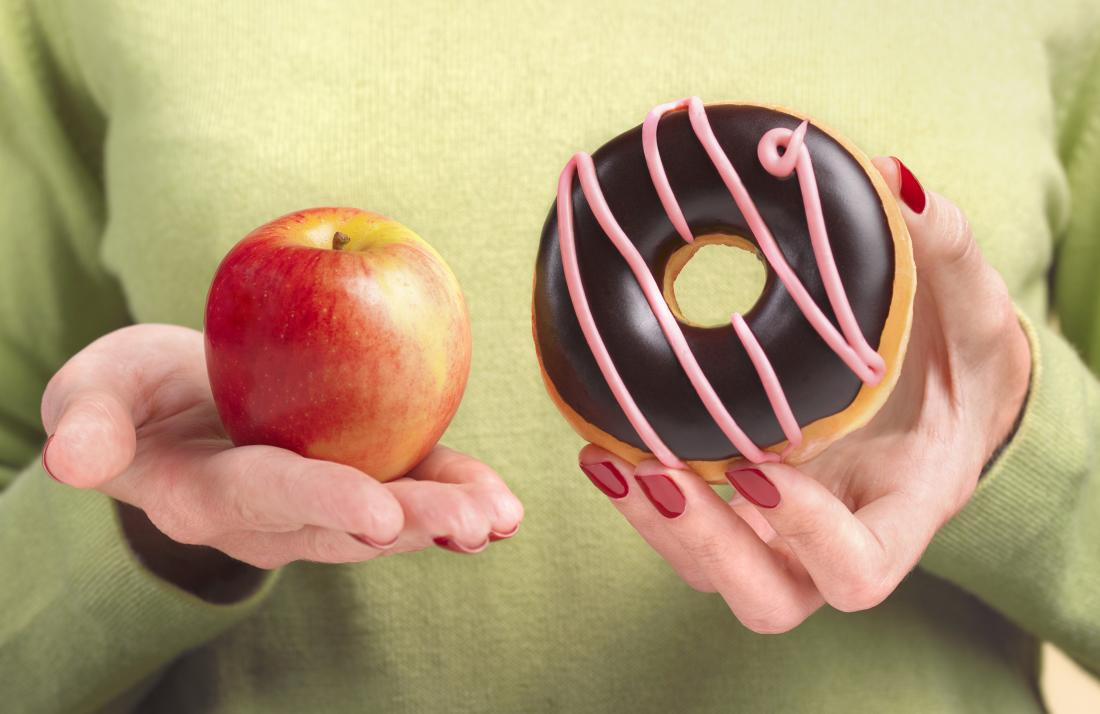 Person holding apple in one hand and doughnut in the other