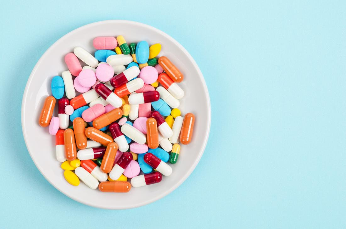 plate of colorful pills