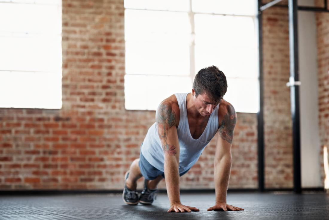 Man doing narrow pushups