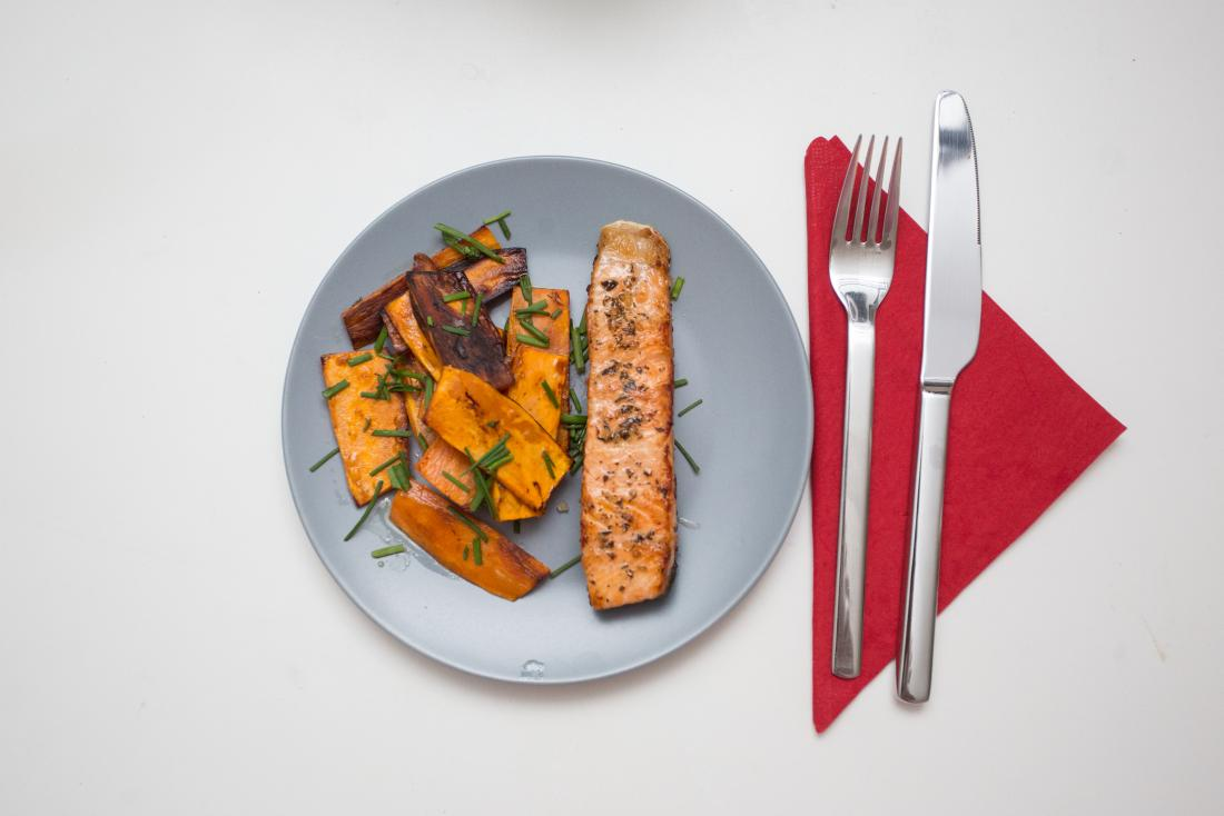 fish and sweet potatoes on a plate