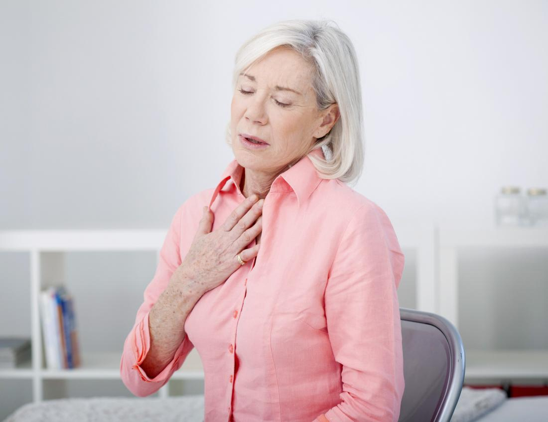 woman with breathing problems