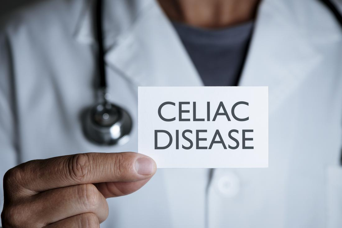 doctor holding celiac disease sign