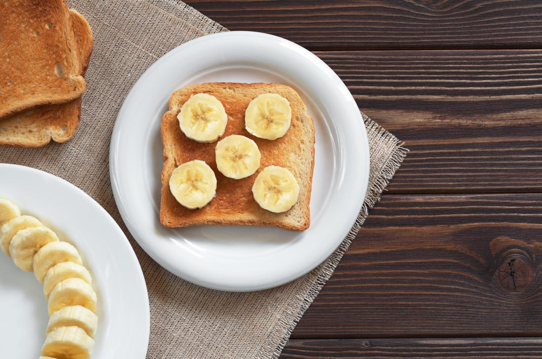 Bananas on toast which is recommended food after food poisoning