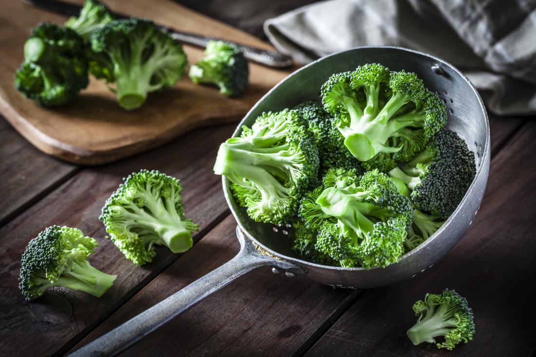 Broccoli in spoon on wooden table.