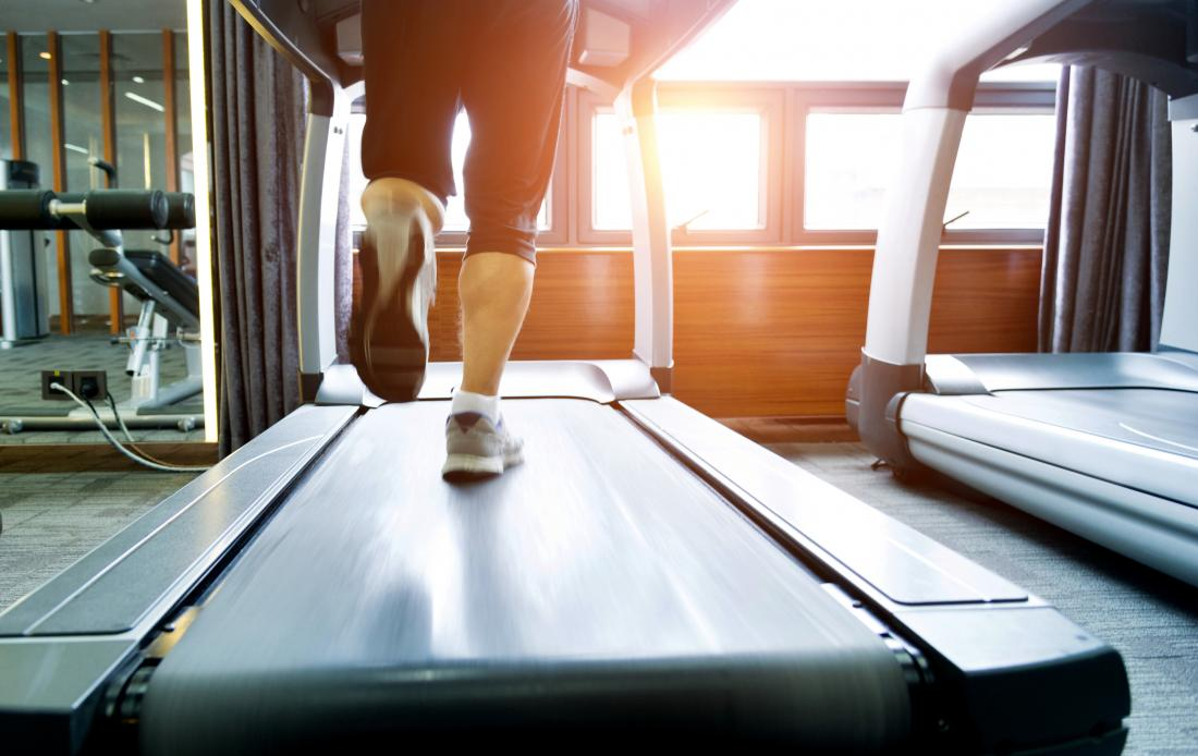 Person running on treadmill
