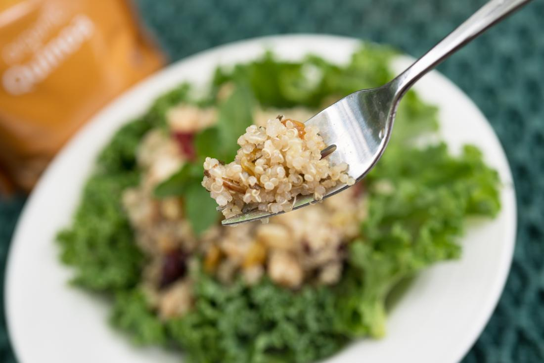 cooked quinoa on fork
