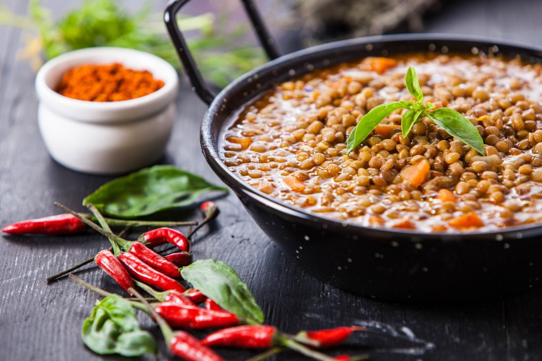Split pea and lentil stew or curry with chillis