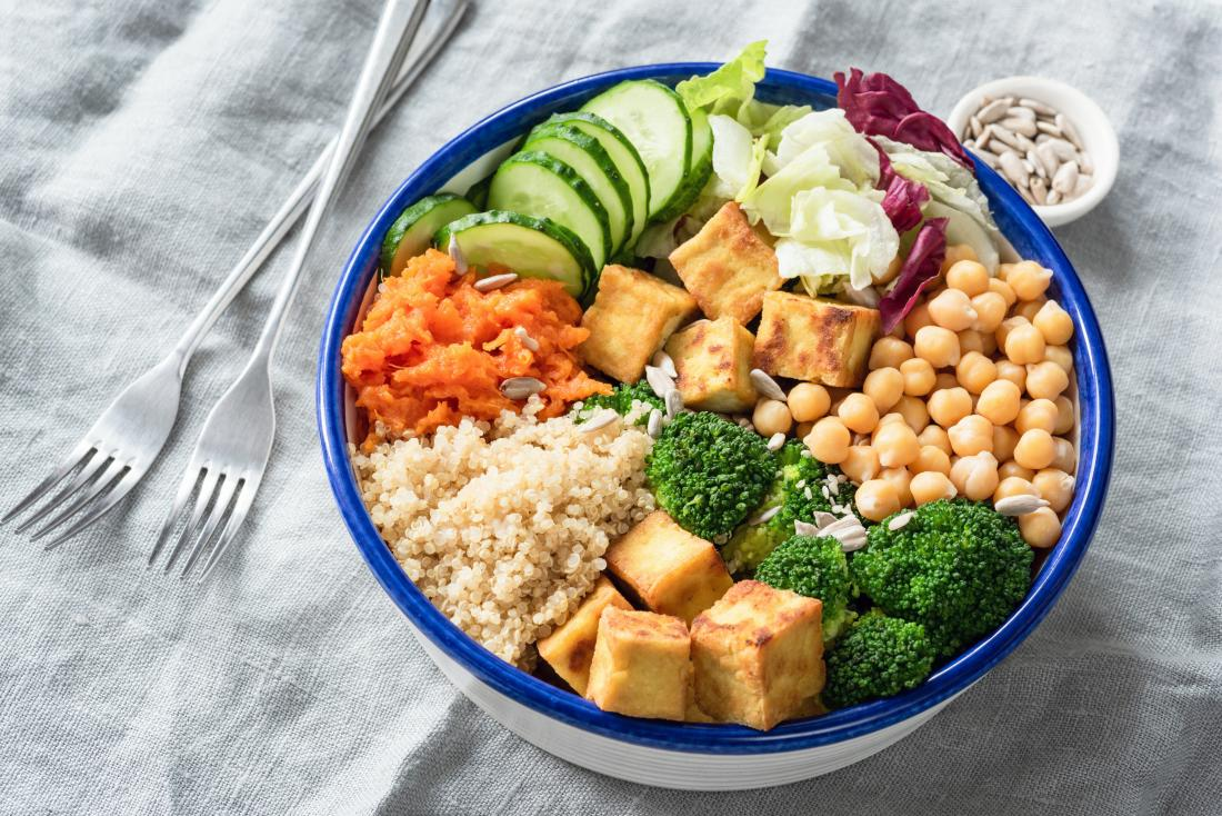 Tofu, chickpeas, quinoa and salad in bowl