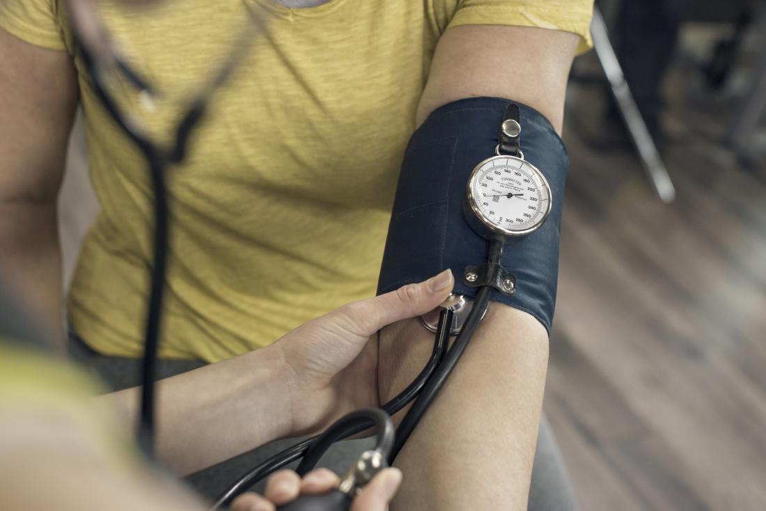 Person having their blood pressure measured