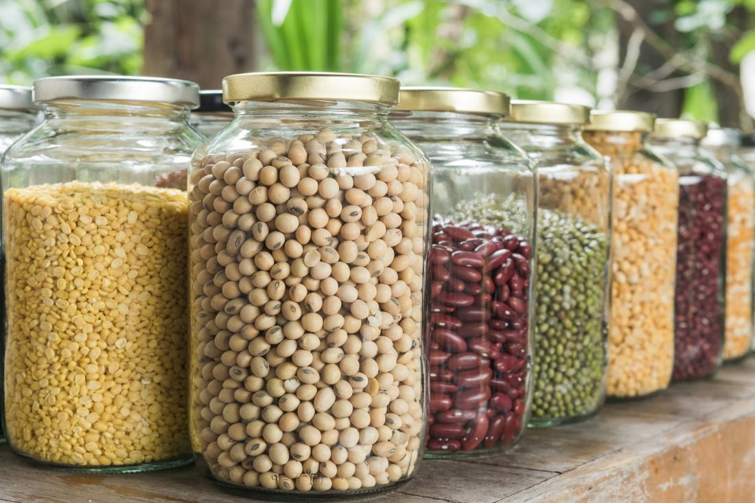 Dried legumes in jars