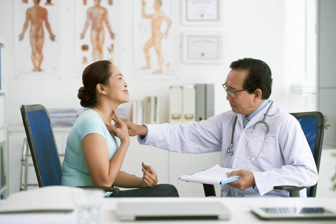 doctor examining female patients throat