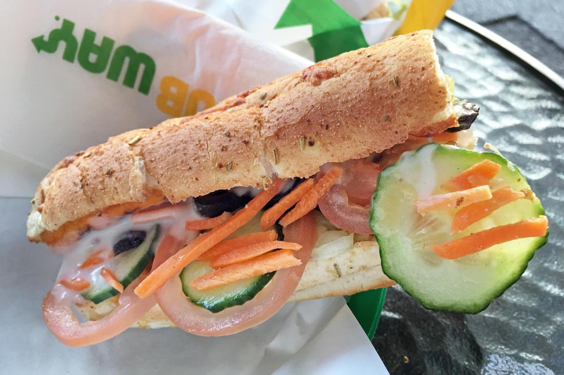 Subway sandwich with vegetables and cheese