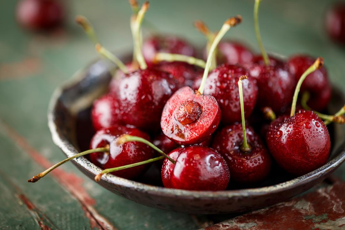 Bowl of red cherries