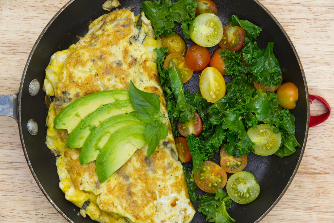 Omelette and avocado for a low-carb, high-fat diets