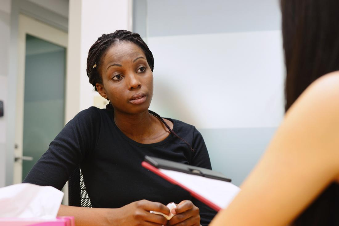 Woman in therapy or counseling session with doctor